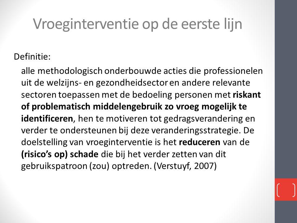 Vroeginterventie op de eerste lijn Definitie: alle methodologisch onderbouwde acties die professionelen uit de welzijns- en gezondheidsector en andere
