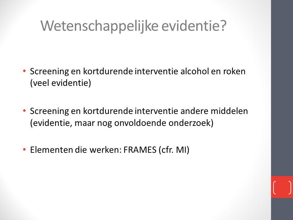 Wetenschappelijke evidentie? • Screening en kortdurende interventie alcohol en roken (veel evidentie) • Screening en kortdurende interventie andere mi
