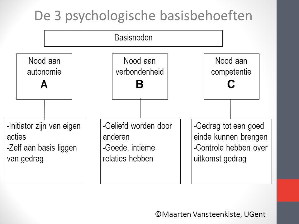 Basisnoden Nood aan autonomie A - Initiator zijn van eigen acties - Zelf aan basis liggen van gedrag Nood aan competentie C - Gedrag tot een goed eind