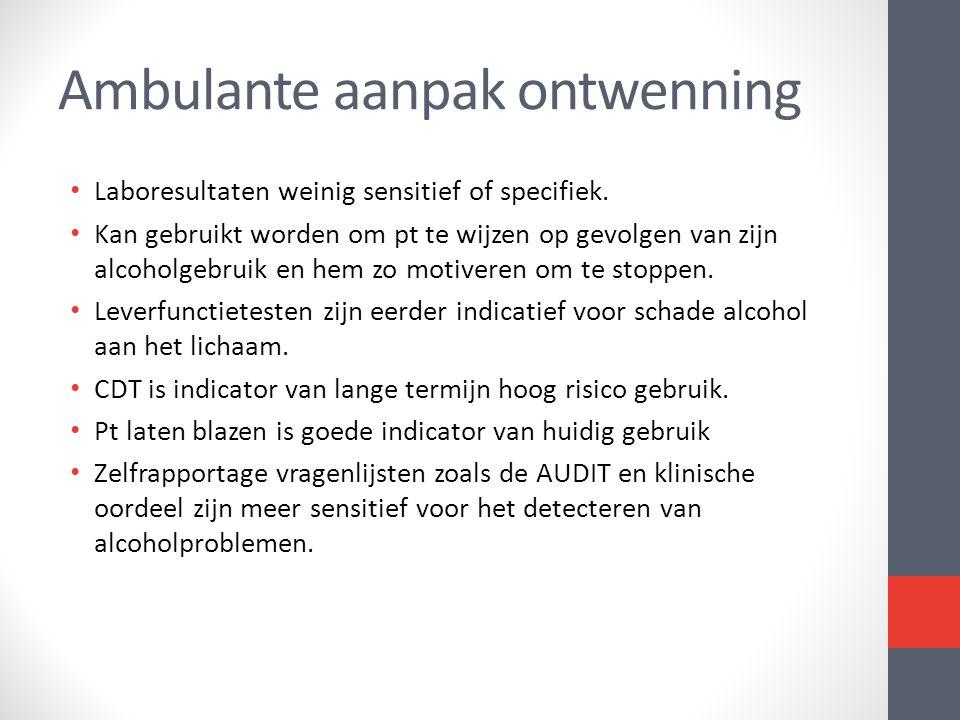 • Laboresultaten weinig sensitief of specifiek. • Kan gebruikt worden om pt te wijzen op gevolgen van zijn alcoholgebruik en hem zo motiveren om te st
