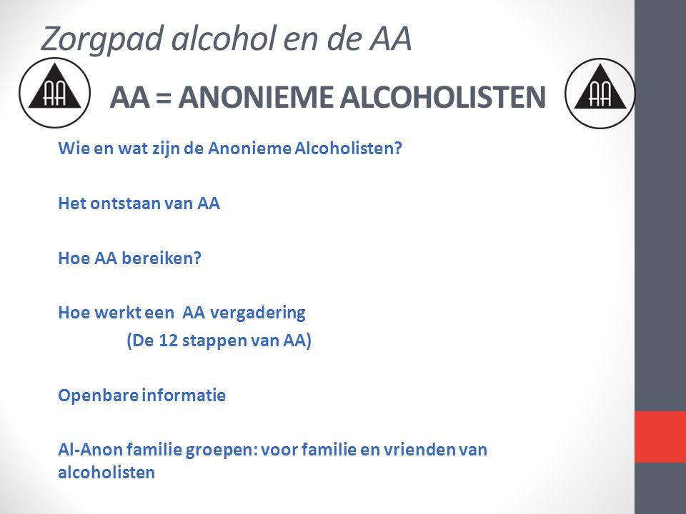 AA = ANONIEME ALCOHOLISTEN Wie en wat zijn de Anonieme Alcoholisten? Het ontstaan van AA Hoe AA bereiken? Hoe werkt een AA vergadering (De 12 stappen
