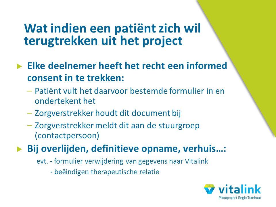  Elke deelnemer heeft het recht een informed consent in te trekken: –Patiënt vult het daarvoor bestemde formulier in en ondertekent het –Zorgverstrek