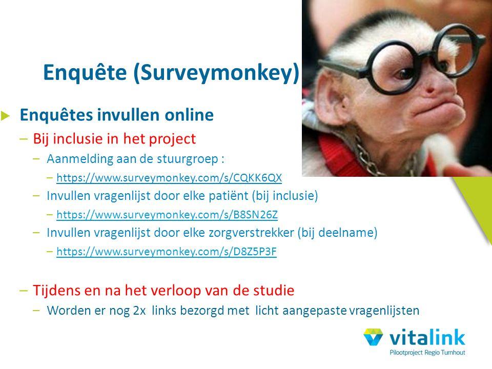  Enquêtes invullen online –Bij inclusie in het project –Aanmelding aan de stuurgroep : –https://www.surveymonkey.com/s/CQKK6QX –Invullen vragenlijst