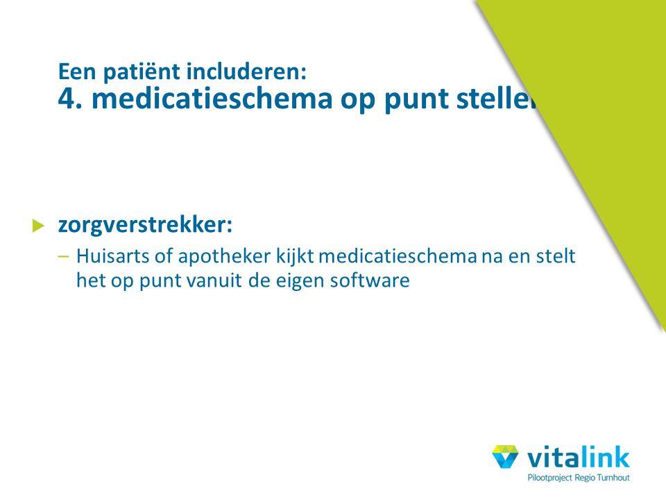  zorgverstrekker: –Huisarts of apotheker kijkt medicatieschema na en stelt het op punt vanuit de eigen software Een patiënt includeren: 4. medicaties