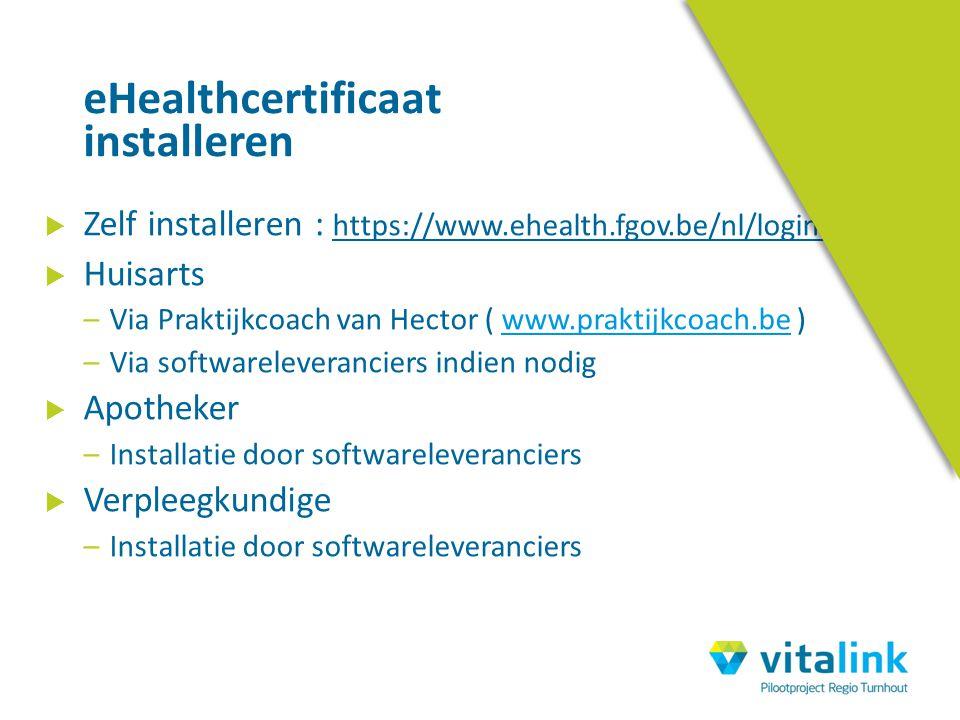 Zelf installeren : https://www.ehealth.fgov.be/nl/loginhelp  Huisarts –Via Praktijkcoach van Hector ( www.praktijkcoach.be )www.praktijkcoach.be –V