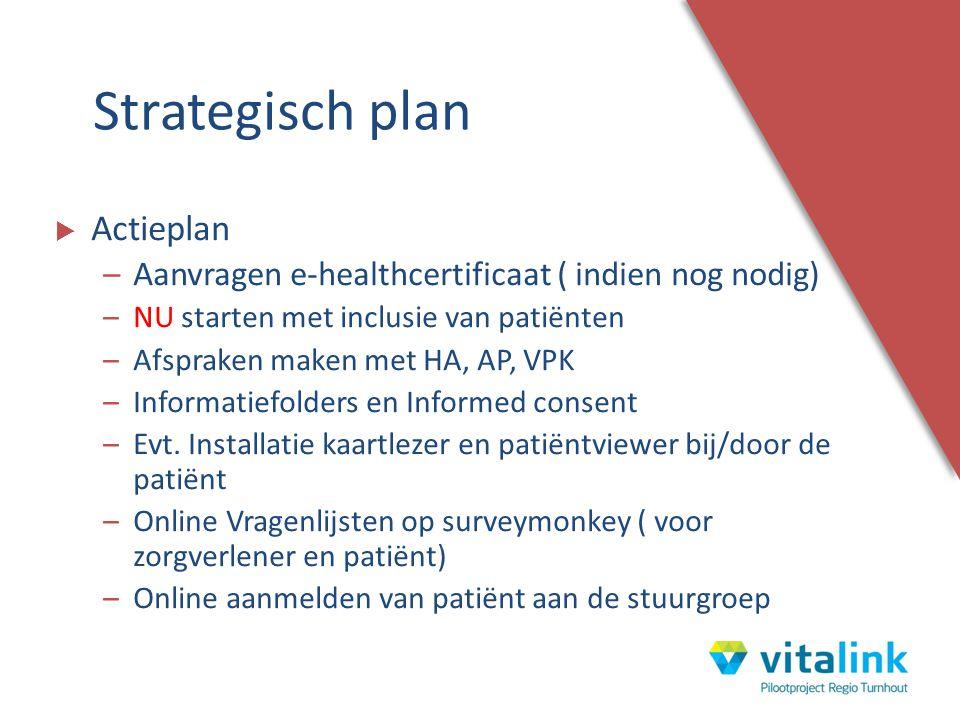  Actieplan –Aanvragen e-healthcertificaat ( indien nog nodig) –NU starten met inclusie van patiënten –Afspraken maken met HA, AP, VPK –Informatiefold