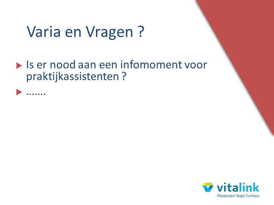  Is er nood aan een infomoment voor praktijkassistenten ?  ……. Varia en Vragen ?