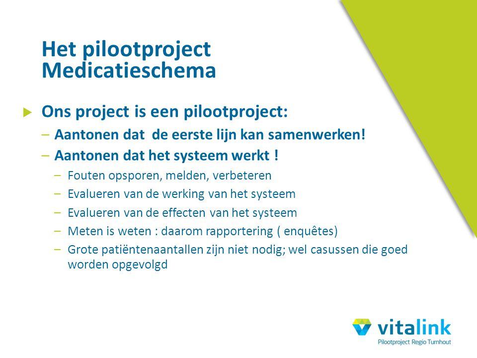  Ons project is een pilootproject: –Aantonen dat de eerste lijn kan samenwerken! –Aantonen dat het systeem werkt ! –Fouten opsporen, melden, verbeter