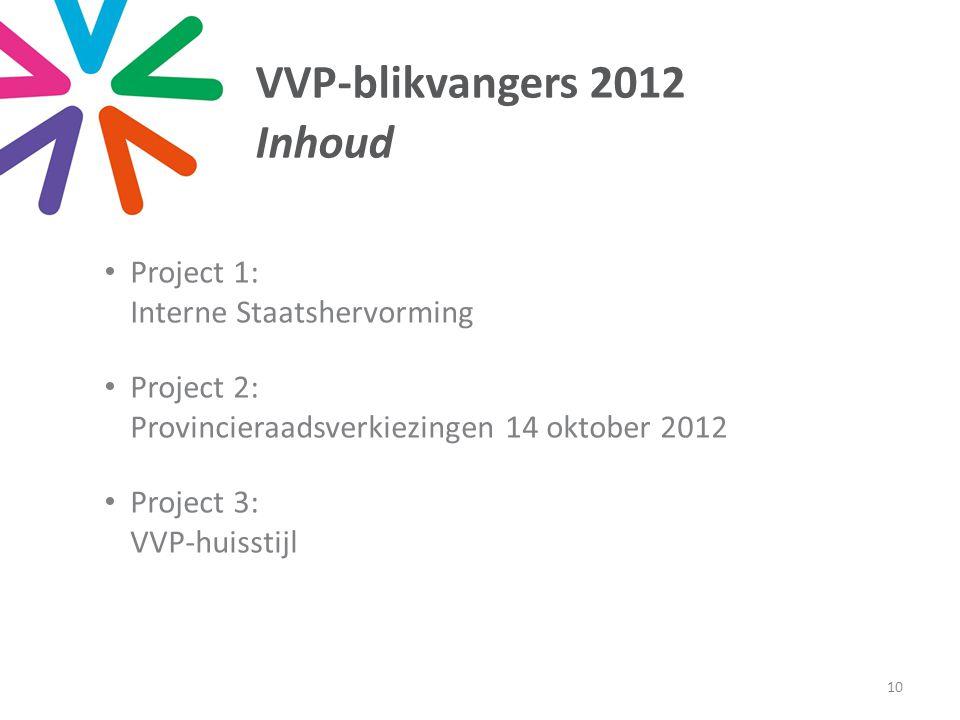 VVP-blikvangers 2012 Inhoud • Project 1: Interne Staatshervorming • Project 2: Provincieraadsverkiezingen 14 oktober 2012 • Project 3: VVP-huisstijl 10