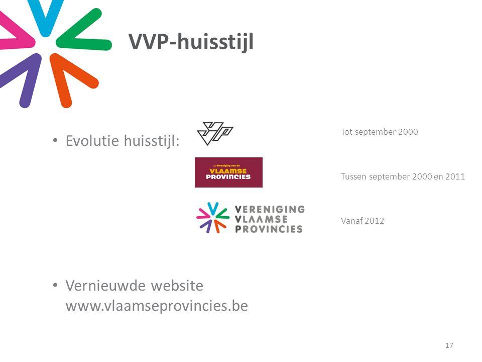 VVP-huisstijl • Evolutie huisstijl: • Vernieuwde website www.vlaamseprovincies.be 17 Tot september 2000 Tussen september 2000 en 2011 Vanaf 2012