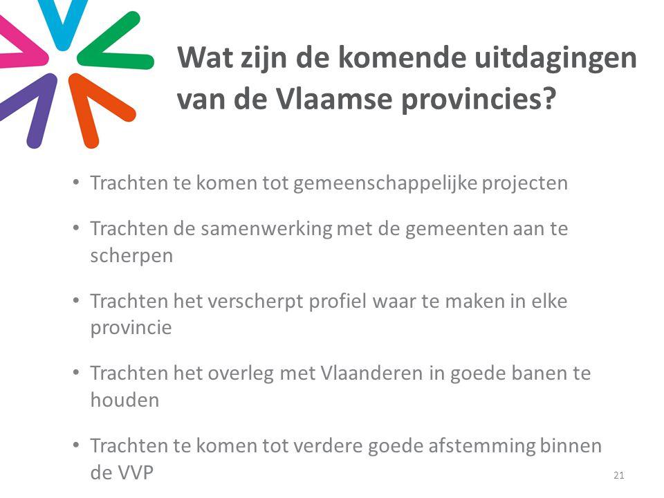 Wat zijn de komende uitdagingen van de Vlaamse provincies.