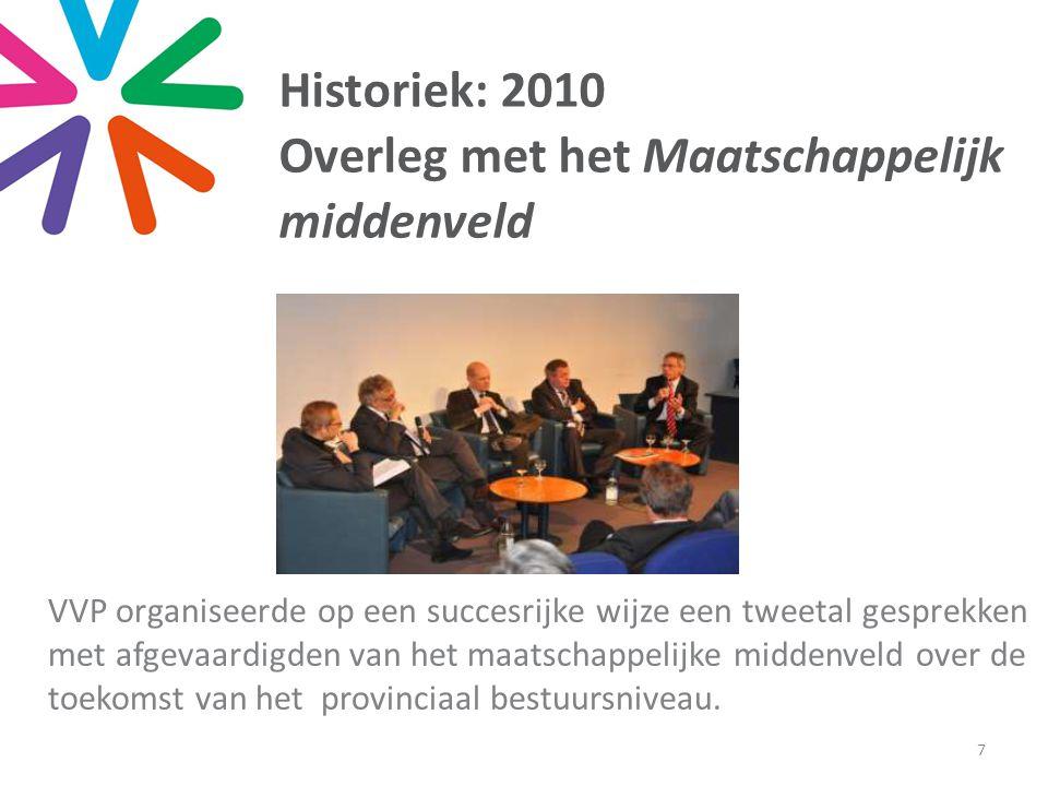 Historiek: 2010 Overleg met het Maatschappelijk middenveld VVP organiseerde op een succesrijke wijze een tweetal gesprekken met afgevaardigden van het maatschappelijke middenveld over de toekomst van het provinciaal bestuursniveau.