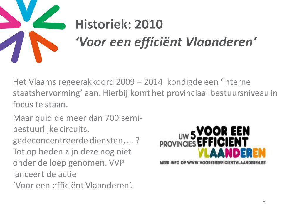 Historiek: 2010 'Voor een efficiënt Vlaanderen' Het Vlaams regeerakkoord 2009 – 2014 kondigde een 'interne staatshervorming' aan.