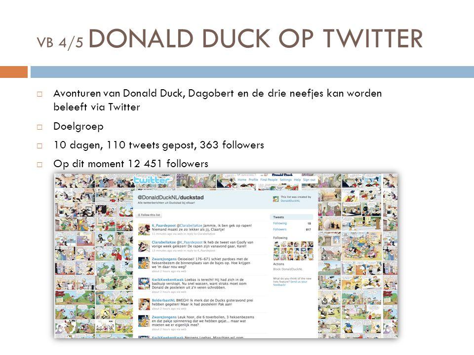 VB 4/5 DONALD DUCK OP TWITTER  Avonturen van Donald Duck, Dagobert en de drie neefjes kan worden beleeft via Twitter  Doelgroep  10 dagen, 110 tweets gepost, 363 followers  Op dit moment 12 451 followers