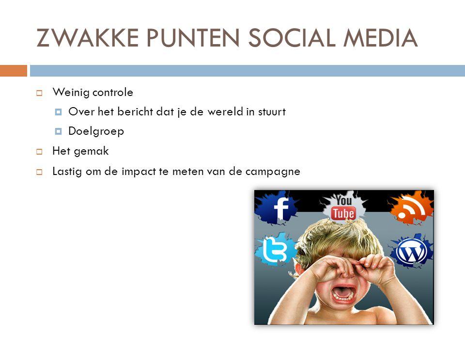 ZWAKKE PUNTEN SOCIAL MEDIA  Weinig controle  Over het bericht dat je de wereld in stuurt  Doelgroep  Het gemak  Lastig om de impact te meten van de campagne