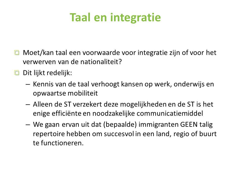 Taal en integratie Moet/kan taal een voorwaarde voor integratie zijn of voor het verwerven van de nationaliteit.