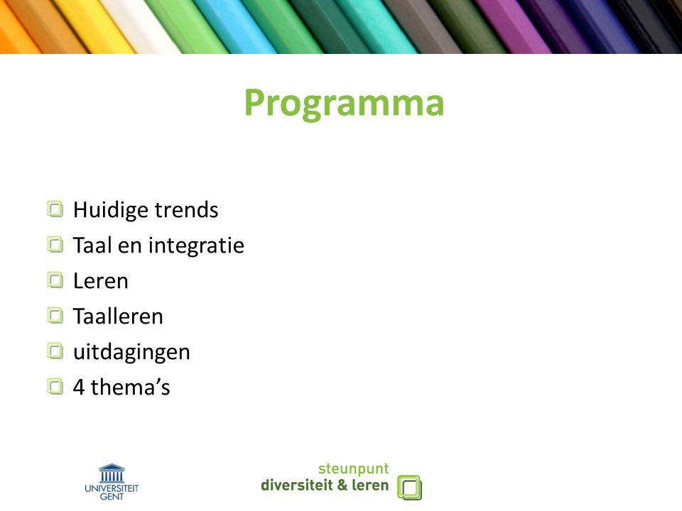 Programma Huidige trends Taal en integratie Leren Taalleren uitdagingen 4 thema's
