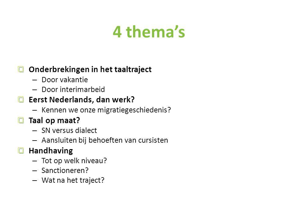 4 thema's Onderbrekingen in het taaltraject – Door vakantie – Door interimarbeid Eerst Nederlands, dan werk.