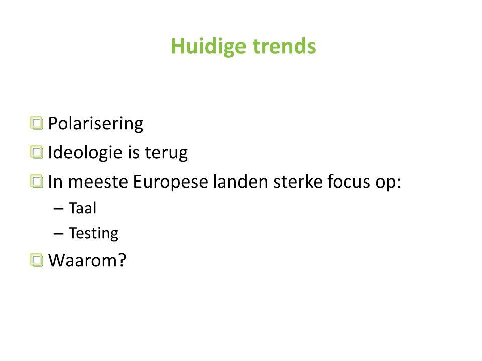 Huidige trends Polarisering Ideologie is terug In meeste Europese landen sterke focus op: – Taal – Testing Waarom?