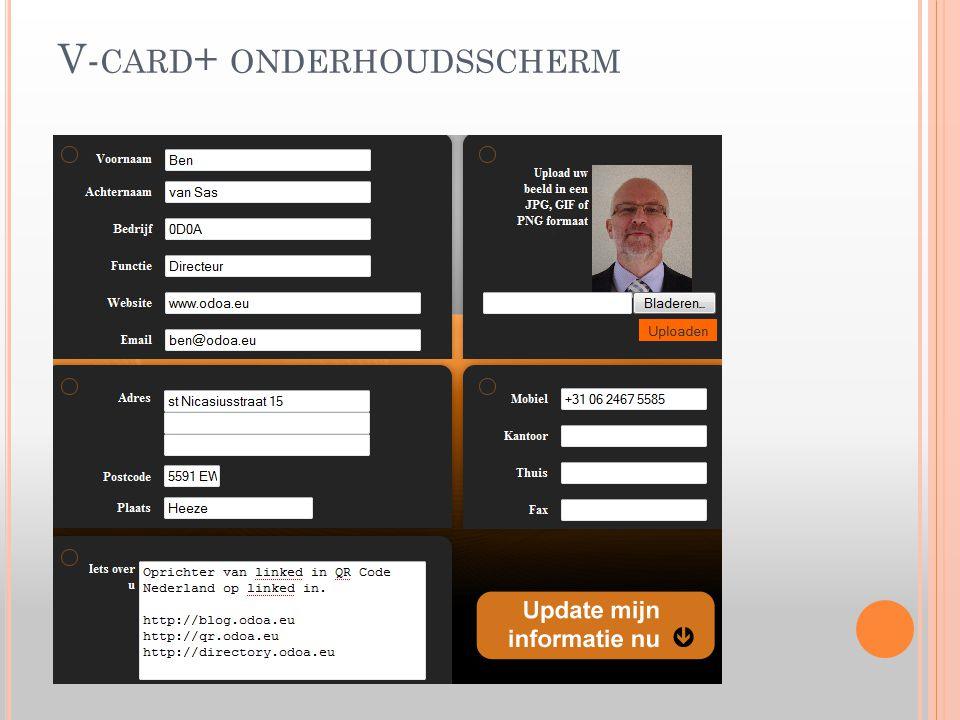 V- CARD + ONDERHOUDSSCHERM