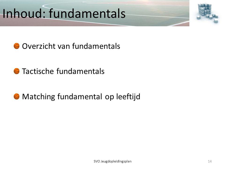 Inhoud: fundamentals Overzicht van fundamentals Tactische fundamentals Matching fundamental op leeftijd 14SVO Jeugdopleidingsplan