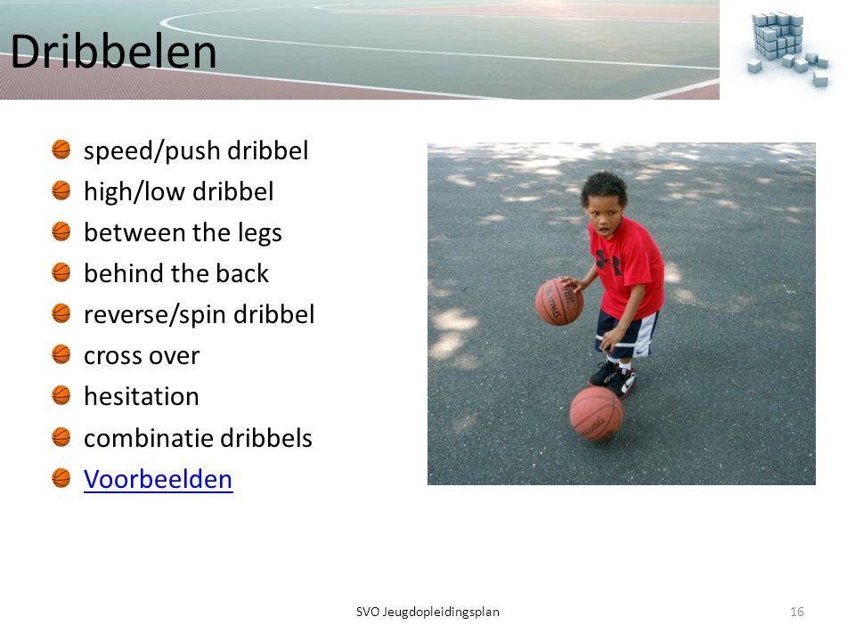 Dribbelen speed/push dribbel high/low dribbel between the legs behind the back reverse/spin dribbel cross over hesitation combinatie dribbels Voorbeel