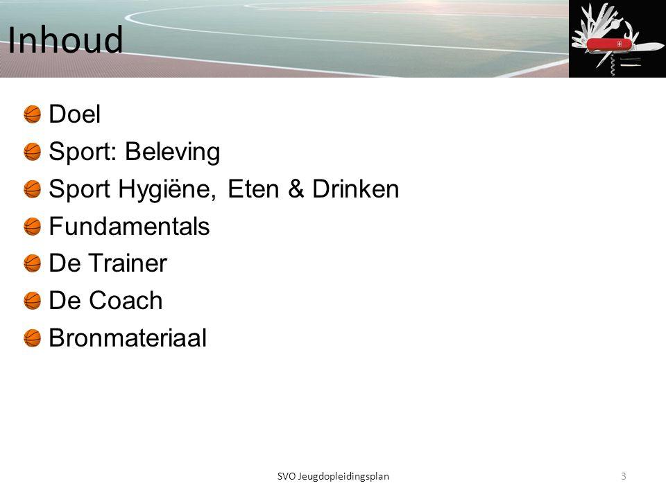 Inhoud Doel Sport: Beleving Sport Hygiëne, Eten & Drinken Fundamentals De Trainer De Coach Bronmateriaal 3SVO Jeugdopleidingsplan