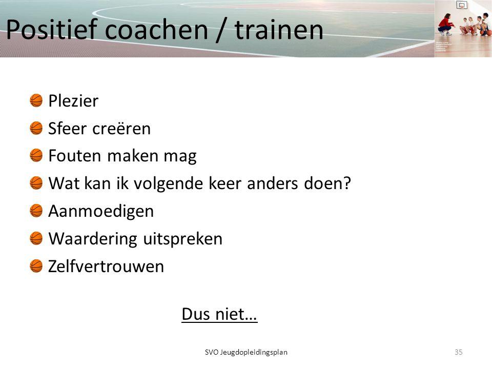 Positief coachen / trainen Plezier Sfeer creëren Fouten maken mag Wat kan ik volgende keer anders doen? Aanmoedigen Waardering uitspreken Zelfvertrouw