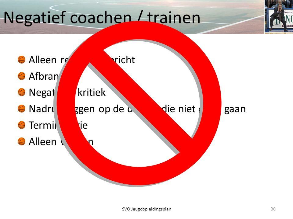 Negatief coachen / trainen Alleen resultaat gericht Afbranden Negatieve kritiek Nadruk leggen op de dingen die niet goed gaan Terminologie Alleen winn