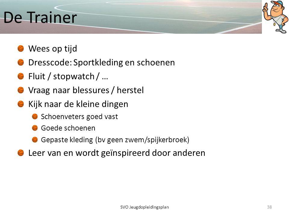 De Trainer Wees op tijd Dresscode: Sportkleding en schoenen Fluit / stopwatch / … Vraag naar blessures / herstel Kijk naar de kleine dingen Schoenvete