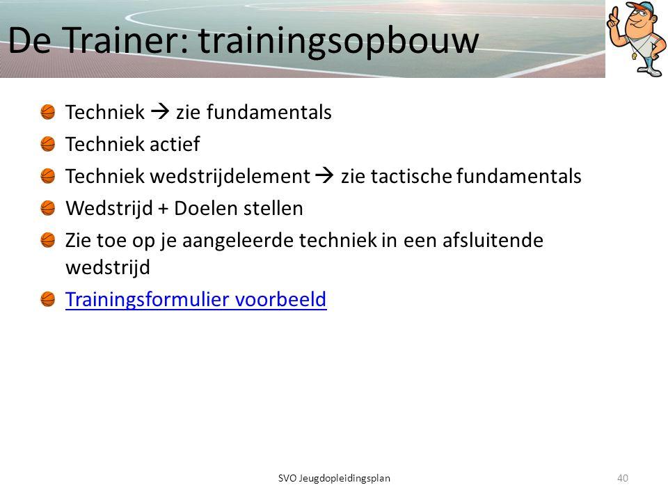 De Trainer: trainingsopbouw 40SVO Jeugdopleidingsplan Techniek  zie fundamentals Techniek actief Techniek wedstrijdelement  zie tactische fundamenta