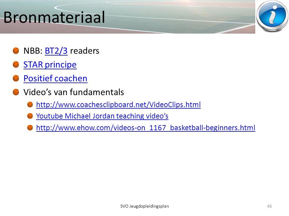 Bronmateriaal NBB: BT2/3 readersBT2/3 STAR principe Positief coachen Video's van fundamentals http://www.coachesclipboard.net/VideoClips.html Youtube
