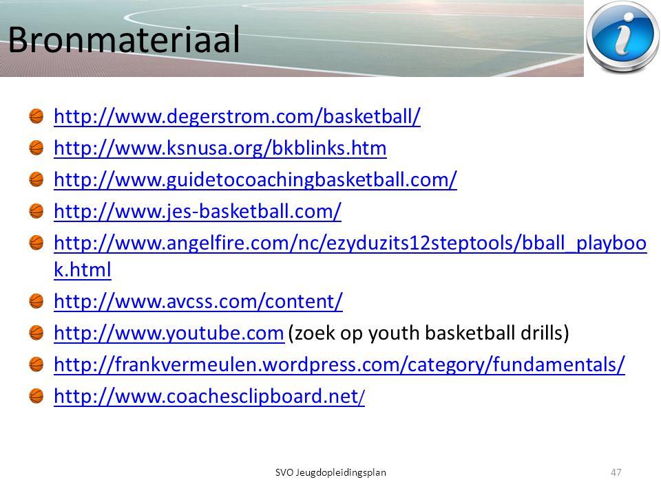 Bronmateriaal http://www.degerstrom.com/basketball/ http://www.ksnusa.org/bkblinks.htm http://www.guidetocoachingbasketball.com/ http://www.jes-basket