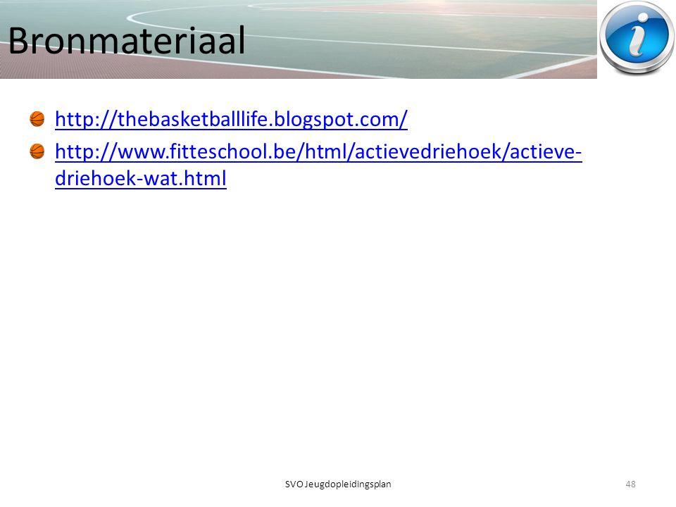 Bronmateriaal http://thebasketballlife.blogspot.com/ http://www.fitteschool.be/html/actievedriehoek/actieve- driehoek-wat.html 48SVO Jeugdopleidingspl
