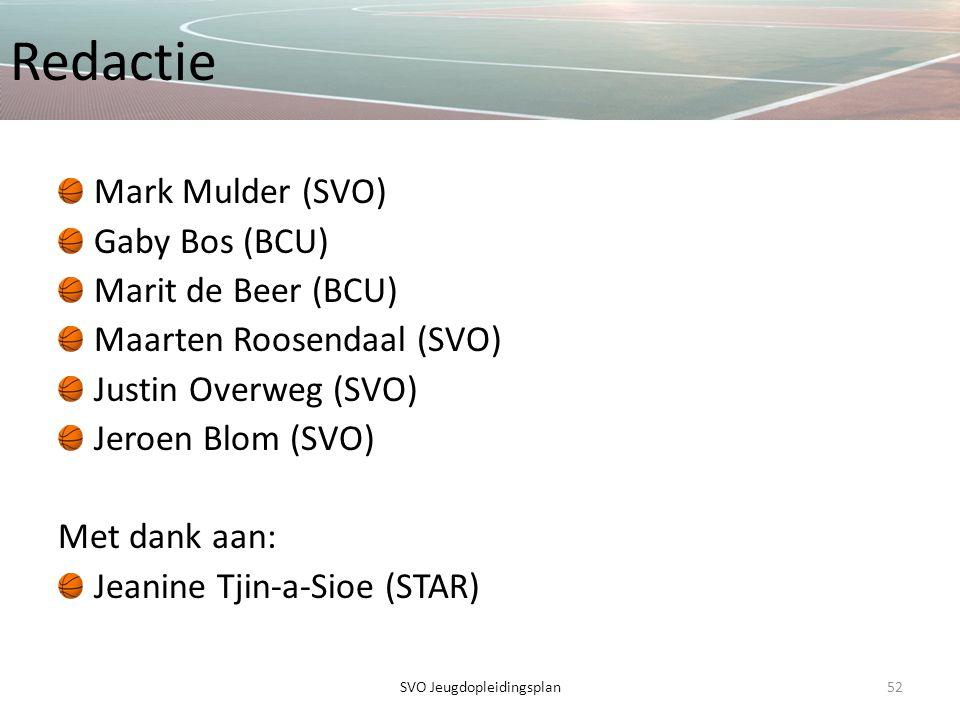 Redactie Mark Mulder (SVO) Gaby Bos (BCU) Marit de Beer (BCU) Maarten Roosendaal (SVO) Justin Overweg (SVO) Jeroen Blom (SVO) Met dank aan: Jeanine Tj