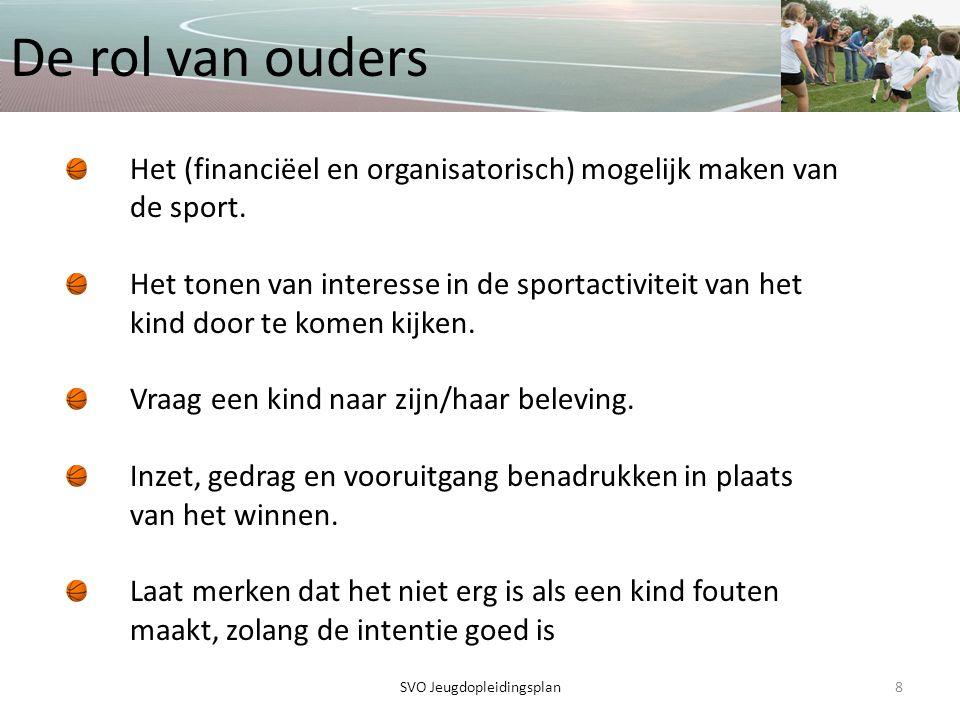 De rol van ouders 8SVO Jeugdopleidingsplan Het (financiëel en organisatorisch) mogelijk maken van de sport. Het tonen van interesse in de sportactivit