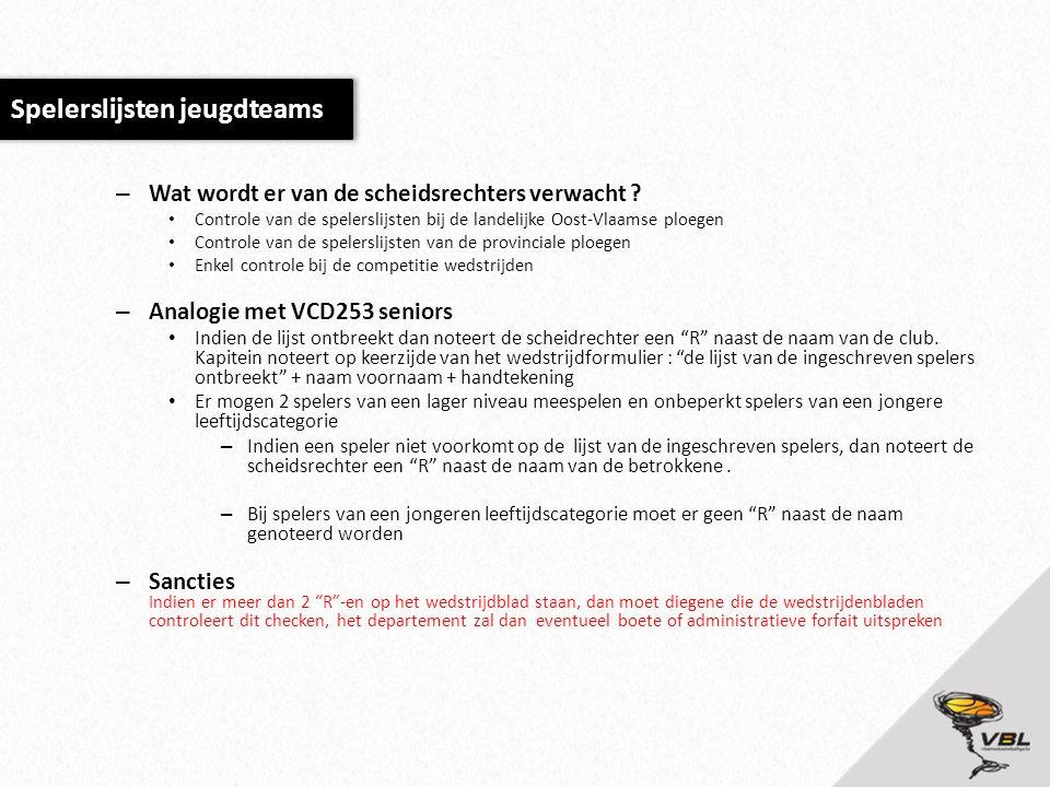 – Wat wordt er van de scheidsrechters verwacht ? • Controle van de spelerslijsten bij de landelijke Oost-Vlaamse ploegen • Controle van de spelerslijs