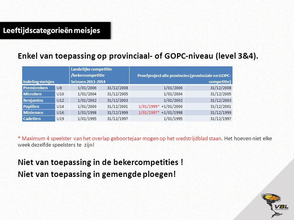 Enkel van toepassing op provinciaal- of GOPC-niveau (level 3&4).