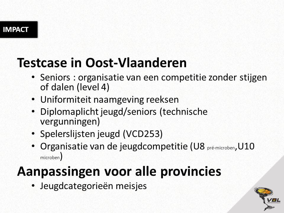 Testcase in Oost-Vlaanderen • Seniors : organisatie van een competitie zonder stijgen of dalen (level 4) • Uniformiteit naamgeving reeksen • Diplomaplicht jeugd/seniors (technische vergunningen) • Spelerslijsten jeugd (VCD253) • Organisatie van de jeugdcompetitie (U8 pré-microben,U10 microben ) Aanpassingen voor alle provincies • Jeugdcategorieën meisjes IMPACT
