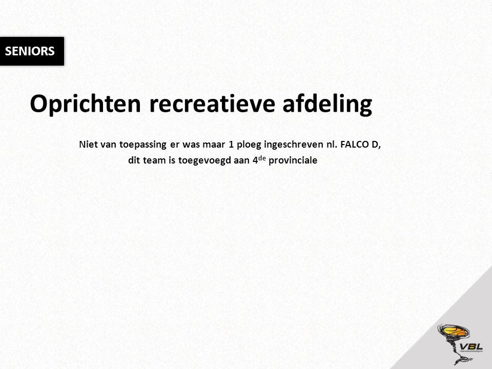 Oprichten recreatieve afdeling Niet van toepassing er was maar 1 ploeg ingeschreven nl. FALCO D, dit team is toegevoegd aan 4 de provinciale SENIORS