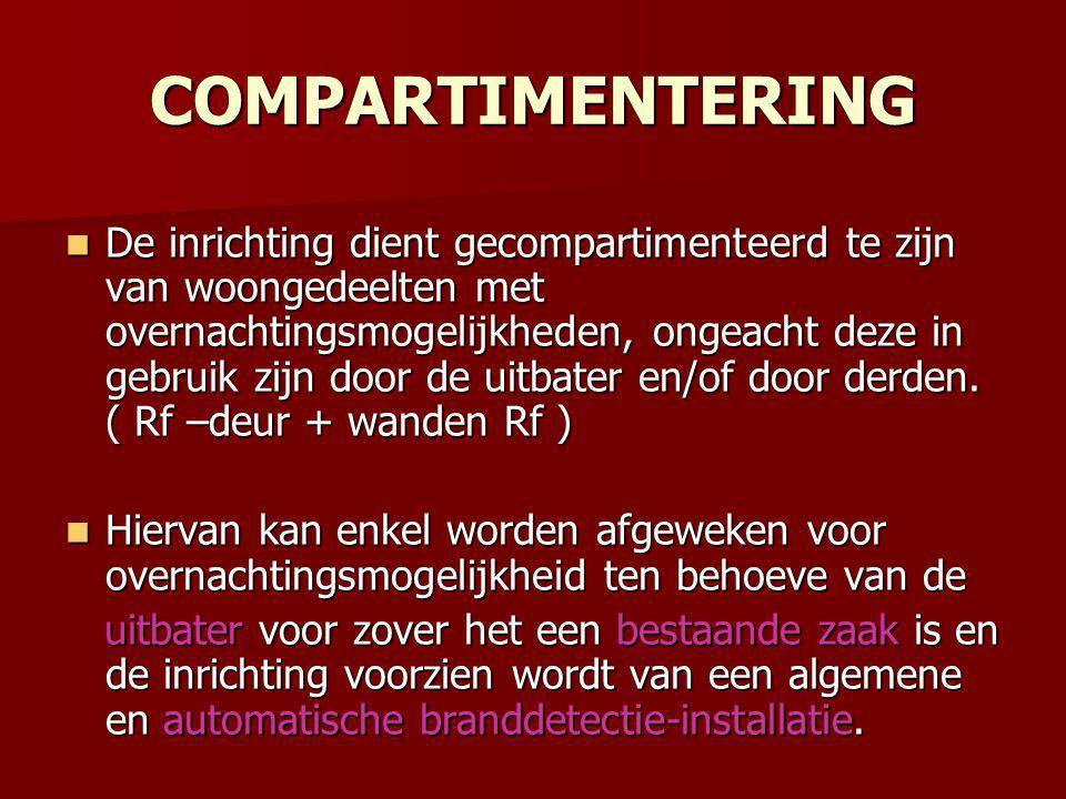 COMPARTIMENTERING  De inrichting dient gecompartimenteerd te zijn van woongedeelten met overnachtingsmogelijkheden, ongeacht deze in gebruik zijn door de uitbater en/of door derden.
