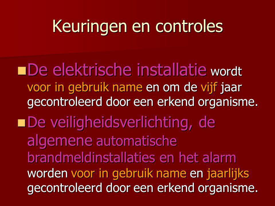 Keuringen en controles  De elektrische installatie wordt voor in gebruik name en om de vijf jaar gecontroleerd door een erkend organisme.