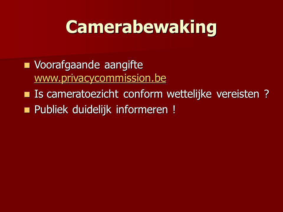Camerabewaking  Voorafgaande aangifte www.privacycommission.be www.privacycommission.be  Is cameratoezicht conform wettelijke vereisten .