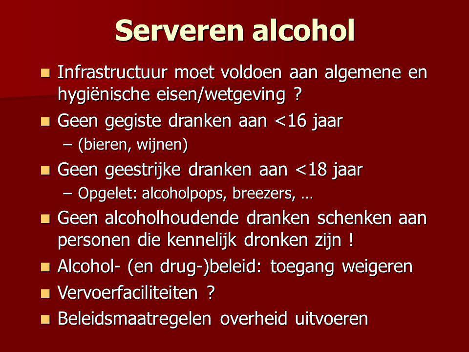 Serveren alcohol  Infrastructuur moet voldoen aan algemene en hygiënische eisen/wetgeving .
