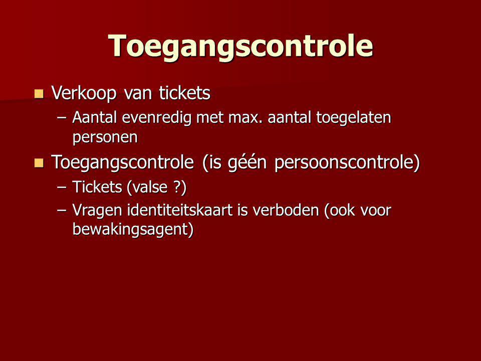 Toegangscontrole  Verkoop van tickets –Aantal evenredig met max.