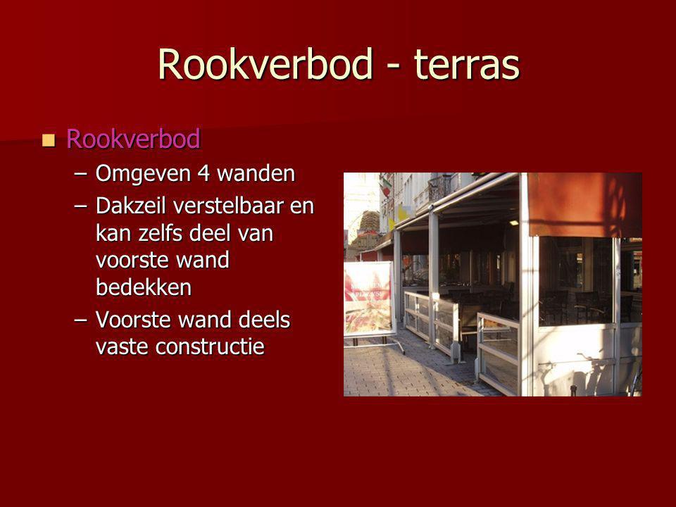 Rookverbod - terras  Rookverbod –Omgeven 4 wanden –Dakzeil verstelbaar en kan zelfs deel van voorste wand bedekken –Voorste wand deels vaste constructie