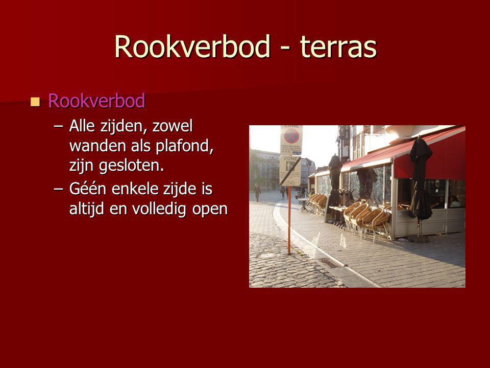 Rookverbod - terras  Rookverbod –Alle zijden, zowel wanden als plafond, zijn gesloten.