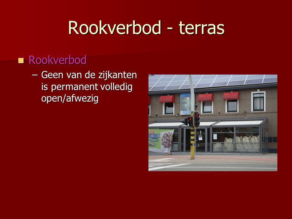 Rookverbod - terras  Rookverbod –Geen van de zijkanten is permanent volledig open/afwezig
