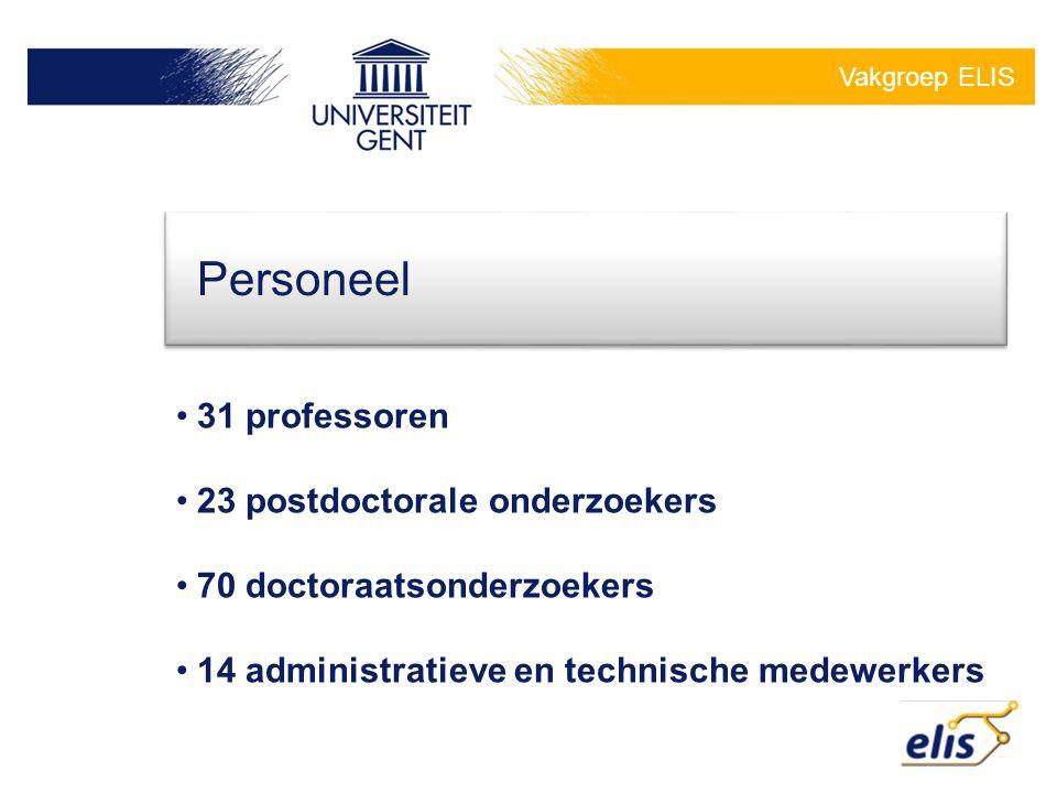 Vakgroep ELIS •31 professoren •23 postdoctorale onderzoekers •70 doctoraatsonderzoekers •14 administratieve en technische medewerkers Personeel