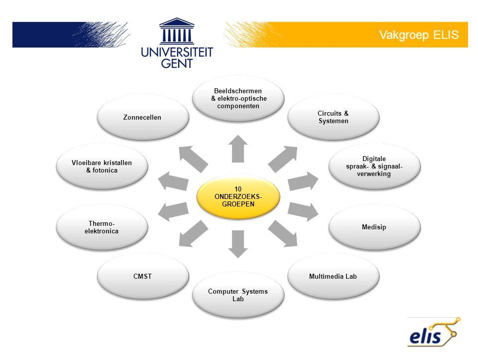 Vakgroep ELIS 10 ONDERZOEKS- GROEPEN Beeldschermen & elektro-optische componenten Circuits & Systemen Digitale spraak- & signaal- verwerking MedisipMu